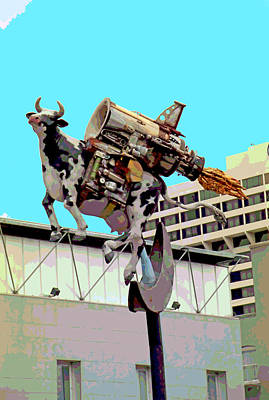 Rocket Cow Sculpture By Michael Bingham Art Print by Steve Ohlsen