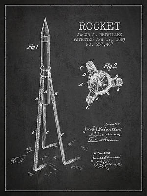 Space Exploration Digital Art - Rocket Patent Drawing From 1883 by Aged Pixel