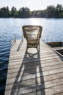 Rocking Photograph - Rocking Chair On Dock by Elena Elisseeva