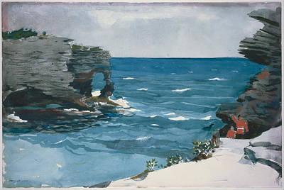 Winslow Homer Painting - Rocky Shore Bermuda by Winslow Homer