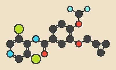Roflumilast Copd Drug Molecule Art Print by Molekuul