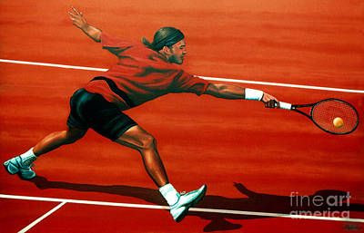 Action Portrait Painting - Roger Federer At Roland Garros by Paul Meijering