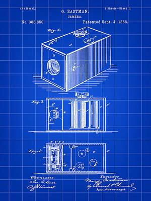 Cartridge Digital Art - Roll Film Camera Patent 1888 - Blue by Stephen Younts