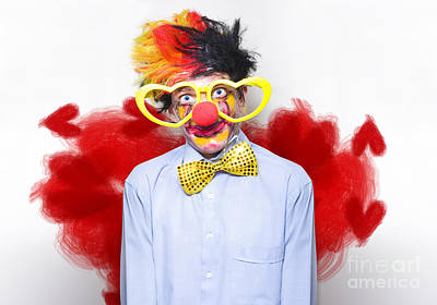 Photograph - Romantic Comedy Clown Wearing Heart Shape Glasses by Jorgo Photography - Wall Art Gallery
