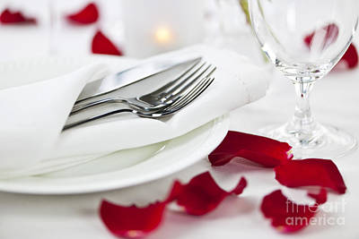 Romantic Dinner Setting With Rose Petals Art Print by Elena Elisseeva