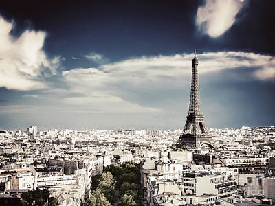 Paris Skyline Royalty-Free and Rights-Managed Images - Rooftop view on the Eiffel Tower by Michal Bednarek