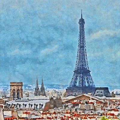 Digital Art - Rooftops In Paris And The Eiffel Tower by Digital Photographic Arts