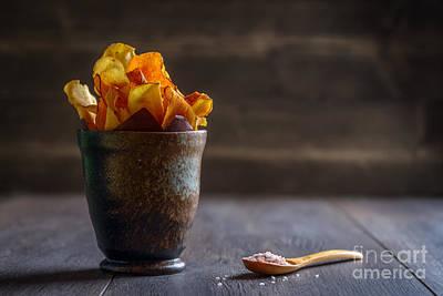 Sea Salt Photograph - Root Vegetable Crisps by Amanda Elwell