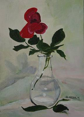 Glass Table Reflection Painting - Rose by Barbara Moak