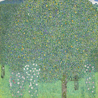 Painting - Rosebushes Under The Trees by Gustav Klimt
