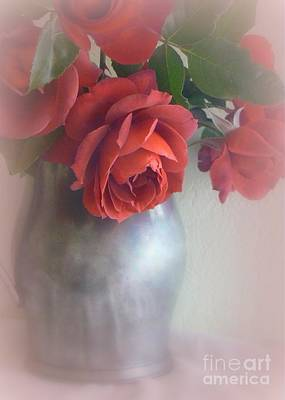 Photograph - Roses In Pewter Vase by Diana Besser