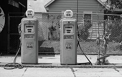 Route 66 - Illinois Gas Pumps Art Print by Frank Romeo
