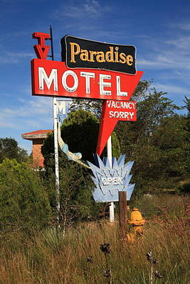 Route 66 - Paradise Motel Print by Frank Romeo