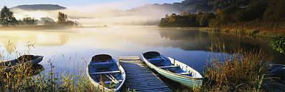 Rowboats At The Lakeside, English Lake Art Print