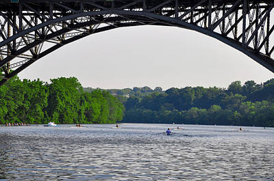 Mansion Digital Art - Rowing Under The Strawberry Mansion Bridge by Bill Cannon