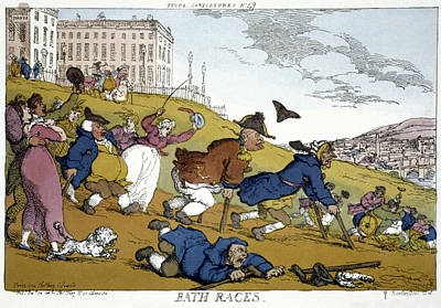 Footrace Painting - Rowlandson Cartoon, 1810 by Granger