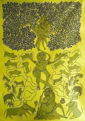 Gond Painting - Rsu 71 by Ram Singh Urveti