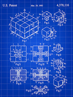 Hungarian Digital Art - Rubik's Cube Patent 1983 - Blue by Stephen Younts