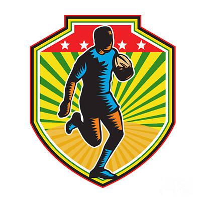 Rugby Union Digital Art - Rugby Player Running Ball Shield Retro by Aloysius Patrimonio