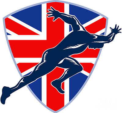 Runner Sprinter Start British Flag Shield Art Print by Aloysius Patrimonio