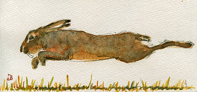 Running Painting - Running Hare by Juan  Bosco