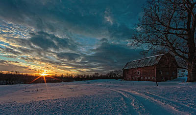 Red Farmhouse Photograph - Rural Sunset II by Everet Regal