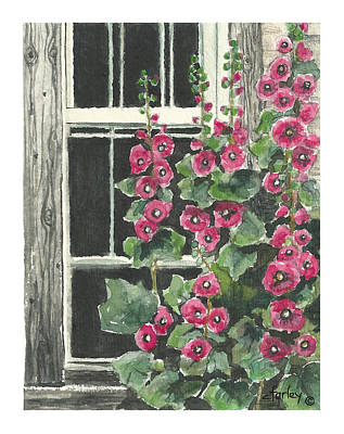 Holly Hocks Painting - Rustic Hollyhocks by Corie Farley