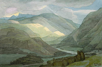 Hills Drawing - Rydal Water by Francis Towne