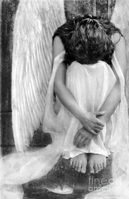 Sad Angel Woman Art Print by Jill Battaglia