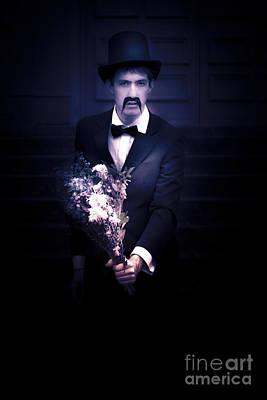 Sad Man Holding Flowers Art Print