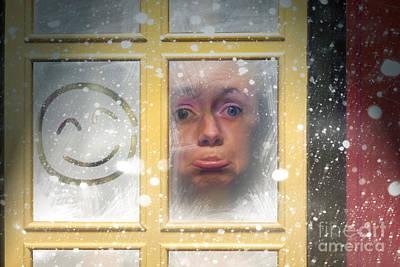 Sad Woman Stuck Indoors During Winter Snowstorm Art Print by Jorgo Photography - Wall Art Gallery