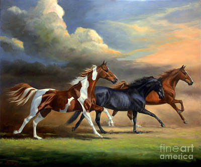 Landmarks Royalty-Free and Rights-Managed Images - Saddlebreds Three by Jeanne Newton Schoborg