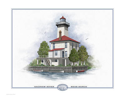 Grate Painting - Saginaw River Lighthouse by Harry Hine