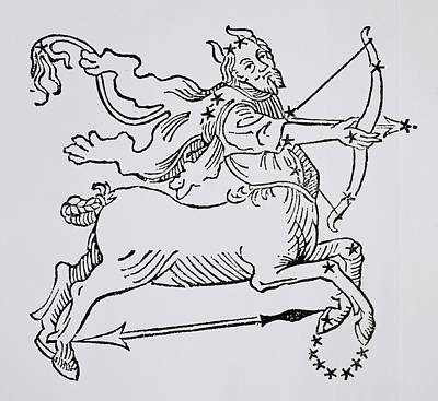 Signs Of The Zodiac Drawing - Sagittarius  by Italian School