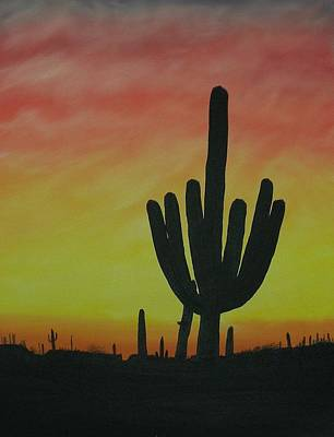 Saguaro Sunset Art Print by Aaron Thomas