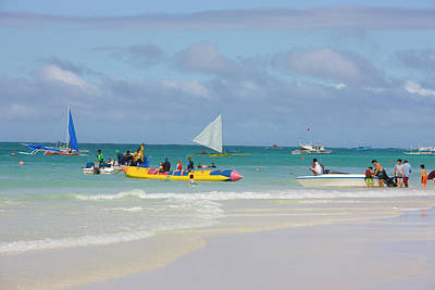 Canoe Photograph - Sail Boats On The Beach, Boracay by Keren Su