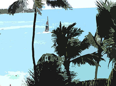 Art Print featuring the digital art Sailboat And Luscious Palms by Karen Nicholson