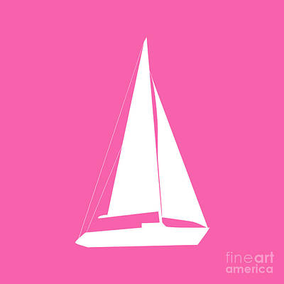 Digital Art - Sailboat In Pink And White by Jackie Farnsworth