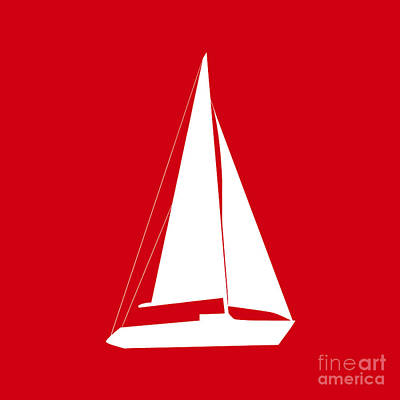 Digital Art - Sailboat In Red And White by Jackie Farnsworth