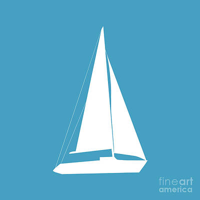 Digital Art - Sailboat In White And Turquoise by Jackie Farnsworth
