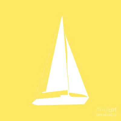 Sailboat In Yellow And White Art Print