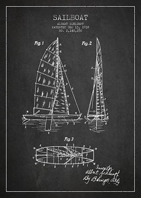 Transportation Digital Art - Sailboat Patent Drawing From 1938 by Aged Pixel