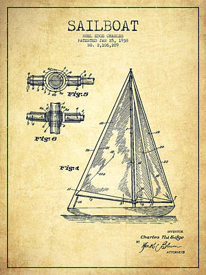 Sailboat Art Drawing - Sailboat Patent Drawing From 1938 - Vintage by Aged Pixel