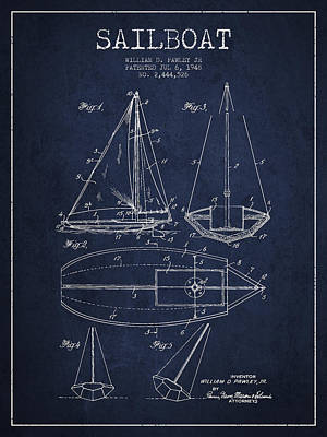 Sailboat Digital Art - Sailboat Patent Drawing From 1948 by Aged Pixel