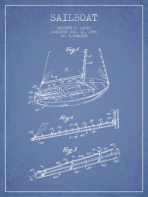 Sailboat Art Drawing - Sailboat Patent From 1996 - Vintage by Aged Pixel