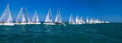 Sailboat Racing In The Ocean, Key West Art Print