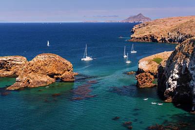 Santa Cruz Island Photograph - Sailboats At Scorpion Cove, Santa Cruz by Russ Bishop