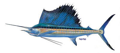 Animals Paintings - Sailfish by Carey Chen