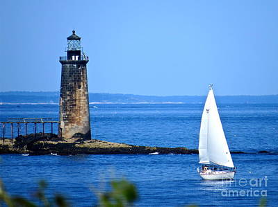 Photograph - Sailing By Ram Island Light by Nancy Patterson