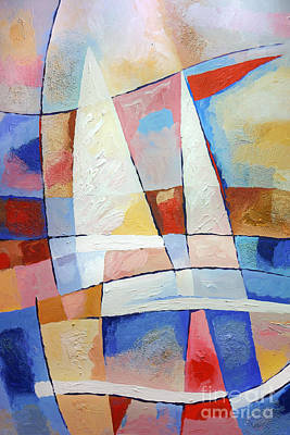Abstract Seascape Painting - Sailing Joy by Lutz Baar